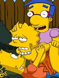 cute Lisa was screwed by Bart and his friend at parents garden animes