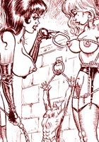 Artworks. Cruel mistress spanks and ties her humble slaves  gallery