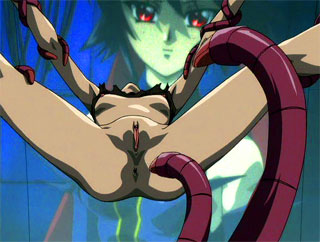 Tiny anime girl takes the pain a tentacle