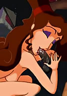 Aeon Flux strokes Megara and gets her face covered