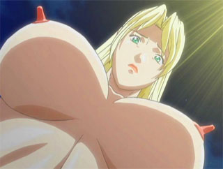 Blonde hentai with mega tits takes hard cock her